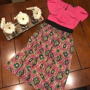 Lularoe Midi Lola Skirt XS Pink Black Blue Green